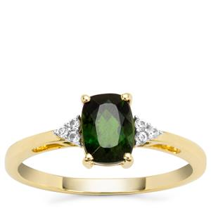 Chrome Diopside Ring with White Zircon in 9K Gold 1.08cts