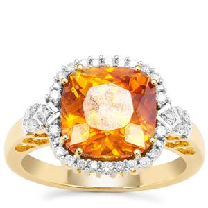 Sphalerite Ring with Diamond in 18K Gold 5.75cts