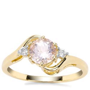 Nigerian Morganite Ring with White Zircon in 9K Gold 0.88ct