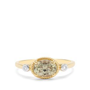 Csarite® & Diamond 9K Gold Ring ATGW 1.31cts