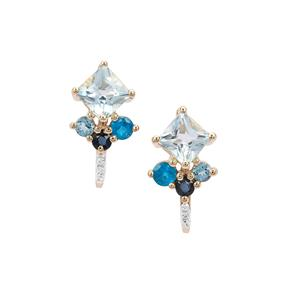 1.81ct Kaleidoscope Gemstone 9K Gold Earrings