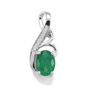 Minas Gerais Emerald & Diamond 18K White Gold Tomas Rae Pendant MTGW 1.34cts