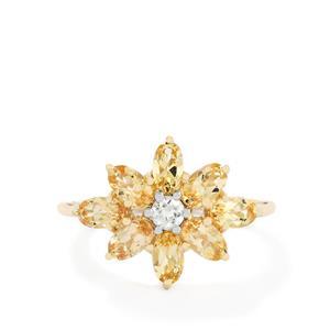 Ouro Preto Imperial Topaz & White Zircon 9K Gold Ring ATGW 2.27cts