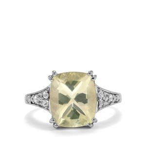 Chartreuse Sanidine & White Topaz Sterling Silver Ring ATGW 4.61cts