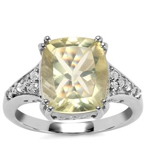 Chartreuse Sanidine Ring with White Topaz in Sterling Silver 4.61cts