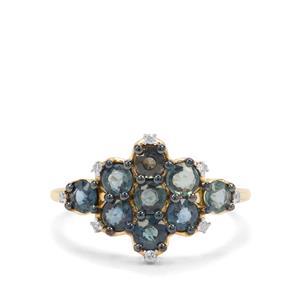 Nigerian Blue Sapphire & Diamond 9K Gold Ring ATGW 1.77cts