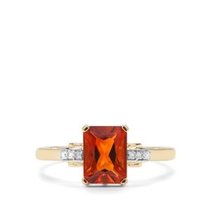 Madeira Citrine & Diamond 9K Gold Ring ATGW 1.35cts