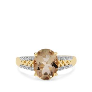 Peach Parti Oregon Sunstone Ring with White Zircon in 9K Gold 2.38cts