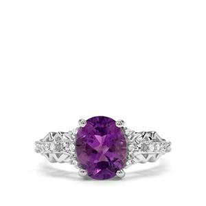 Moroccan Amethyst & White Zircon Sterling Silver Ring ATGW 2.41cts