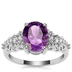 Moroccan Amethyst Ring with White Zircon in Sterling Silver 2.41cts