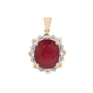 Malagasy Ruby Pendant with White Zircon in 9K Gold 10.93cts