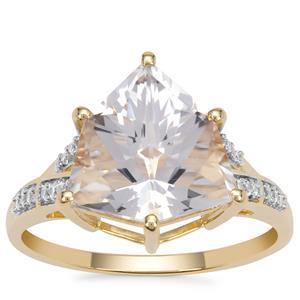 Alpine Cut Optic Quartz Ring with White Zircon in 9K Gold 4.35cts