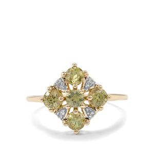 Ambanja Demantoid Garnet & Diamond 9K Gold Ring ATGW 1.06cts
