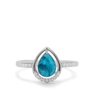 Neon Apatite & White Zircon Sterling Silver Ring ATGW 1.60cts