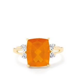 AA Honey American Fire Opal & White Zircon 9K Gold Ring ATGW 3.12cts