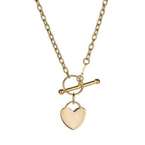 """18"""" 9K Gold Altro Mini Heart T-Bar Necklace 3.05g"""