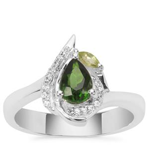 Chrome Diopside, Peridot Ring with White Zircon in Sterling Silver 0.89ct