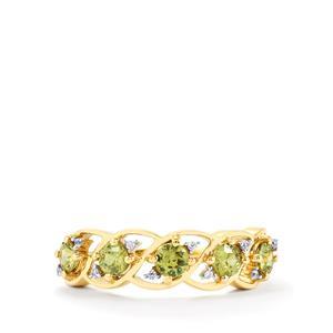 Ambanja Demantoid Garnet & White Zircon 10K Gold Ring ATGW 1.10cts