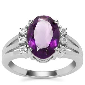 Zambian Amethyst Ring with White Zircon in Sterling Silver 3.24cts