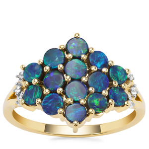 Crystal Opal on Ironstone Ring with White Zircon in 9K Gold 1.37cts