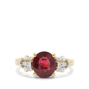 Malawi Garnet & Diamond 18K Gold Ring Tomas Rae MTGW 3.17cts