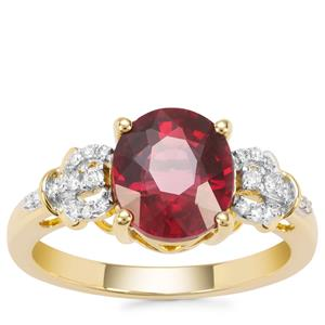 Malawi Garnet Ring with Diamond in 18K Gold 3.17cts