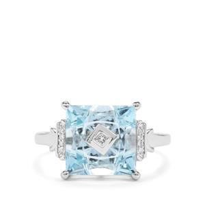 Lehrer TorusRing Sky Blue Topaz & Diamond 9K White Gold Ring ATGW 5.04cts