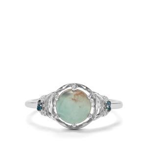 Aquaprase™, White Zircon & Blue Diamond Sterling Silver Ring ATGW 1.56cts