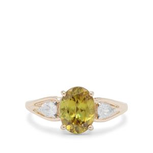 Ambilobe Sphene and White Zircon 9K Gold Ring 2.85cts
