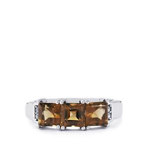 Smokey Quartz Ring with White Topaz in Sterling Silver 2cts