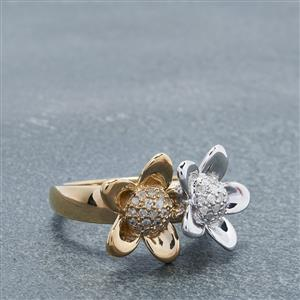 0.20ct. White Diamond. Gold Plated Sterling Silver.
