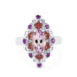1.84ct Rose De France Amethyst & Amethyst Sterling Silver Enamel Ring