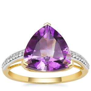 Moroccan Amethyst Ring with White Zircon in 9K Gold 4.15cts