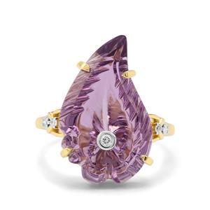 Lehrer Flame Cut Ametista Amethyst & Diamond 9K Gold Ring ATGW 8.65cts