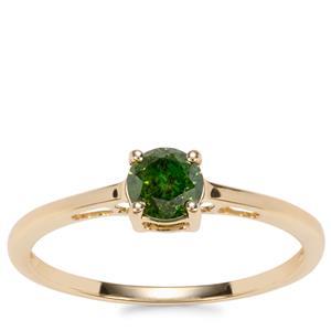 Green Diamond Ring in 10K Gold 0.56ct