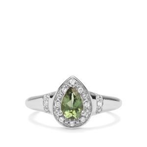 Taolagnaro Mandrare Green Apatite & White Zircon Sterling Silver Ring ATGW 0.77cts