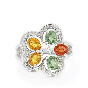 Rainbow Sapphire & White Topaz Sterling Silver Ring ATGW 2.98cts