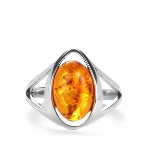 Baltic Cognac Amber Sterling Silver Ring (12 x 8mm)