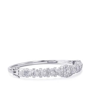 Diamond Oval Bangle in Sterling Silver 5.05ct