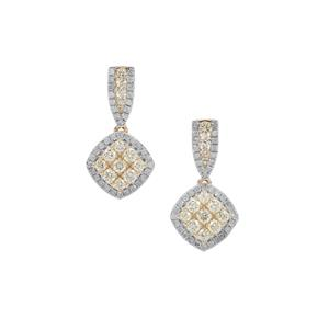 Yellow Diamond Earrings with White Diamond in 9K Gold 1.30cts