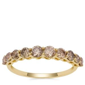 Champagne Diamond Ring in 9K Gold 1.10cts