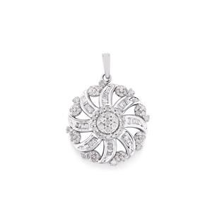1/2ct Diamond 10K White Gold Pendant
