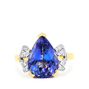 AAA Tanzanite Ring with Diamond in 18k Gold 5.64cts