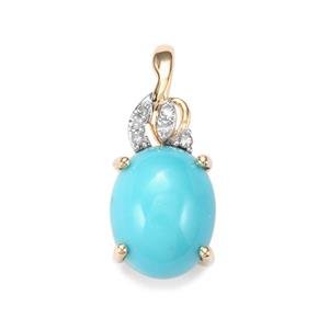 Sleeping Beauty Turquoise Pendant with Diamond in 10K Gold 2.28cts