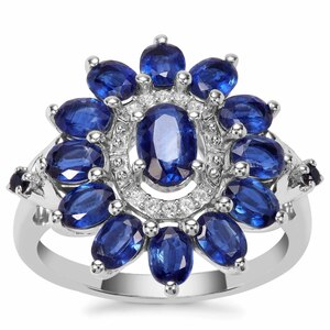 Nilamani, Thai Sapphire Ring with White Zircon in Sterling Silver 3.16cts