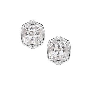 Optic Quartz Earrings with White Zircon in Sterling Silver 8.62cts