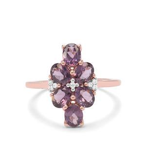 Mahenge Purple Spinel & White Zircon 9K Rose Gold Ring ATGW 2.22cts