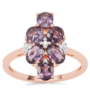 Mahenge Purple Spinel Ring with White Zircon in 9K Rose Gold 2.22cts
