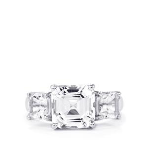6.62ct White Topaz Sterling Silver Asscher Cut Ring
