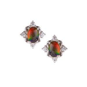 AA Ammolite & White Zircon Sterling Silver Earrings (6.50x4.50mm)